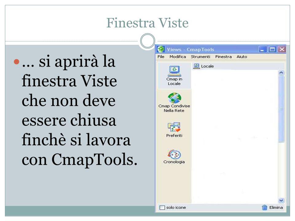Finestra Viste … si aprirà la finestra Viste che non deve essere chiusa finchè si lavora con CmapTools.