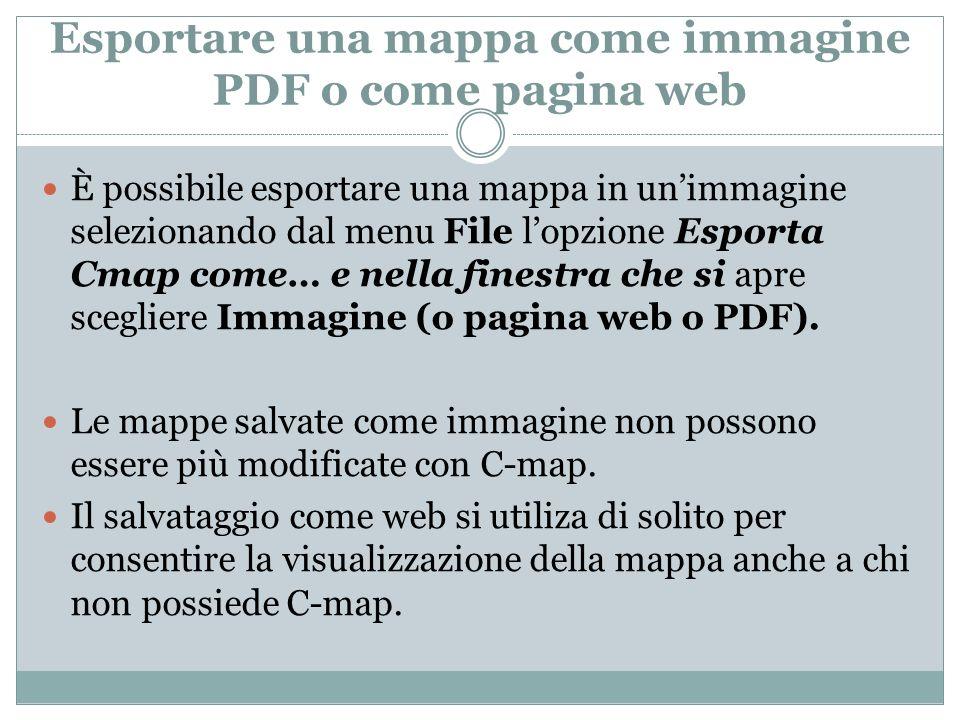 Esportare una mappa come immagine PDF o come pagina web
