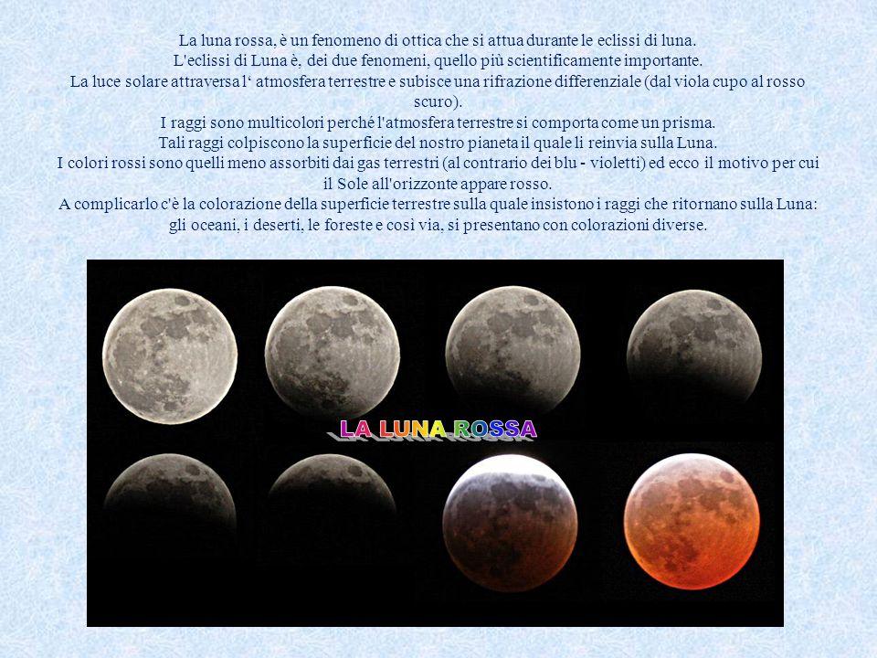 La luna rossa, è un fenomeno di ottica che si attua durante le eclissi di luna.