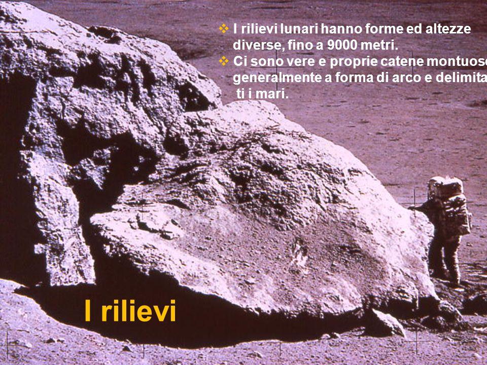 I rilievi I rilievi lunari hanno forme ed altezze