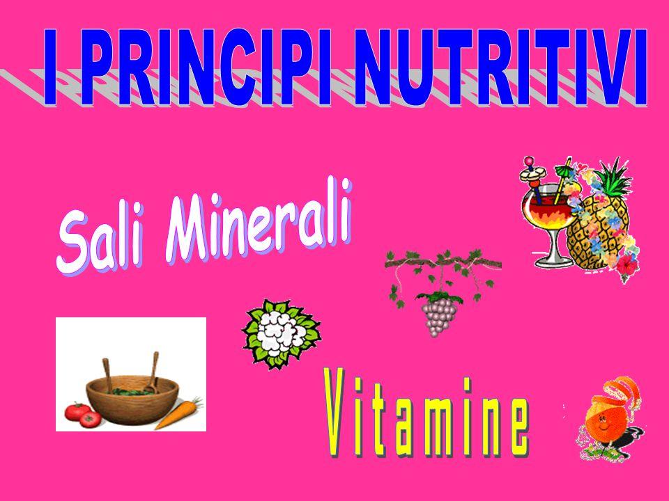 I PRINCIPI NUTRITIVI Sali Minerali Vitamine