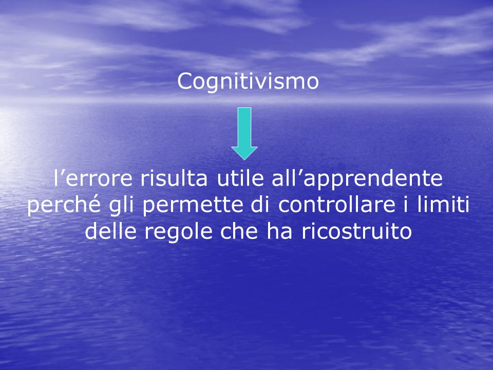 Cognitivismo l'errore risulta utile all'apprendente perché gli permette di controllare i limiti delle regole che ha ricostruito.