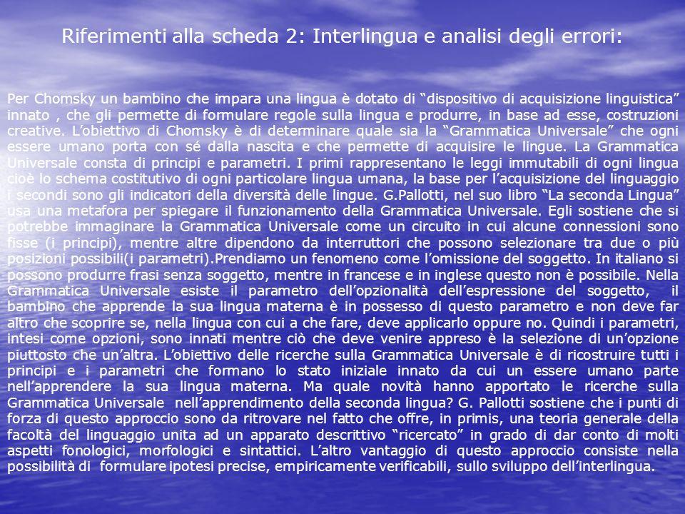 Riferimenti alla scheda 2: Interlingua e analisi degli errori: