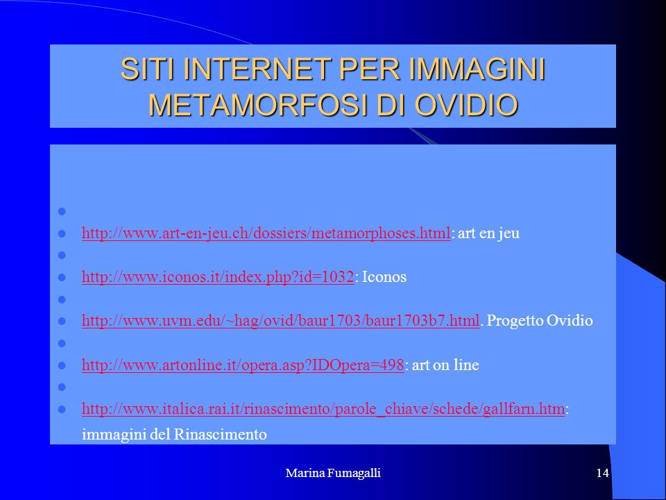 SITI INTERNET PER IMMAGINI METAMORFOSI DI OVIDIO