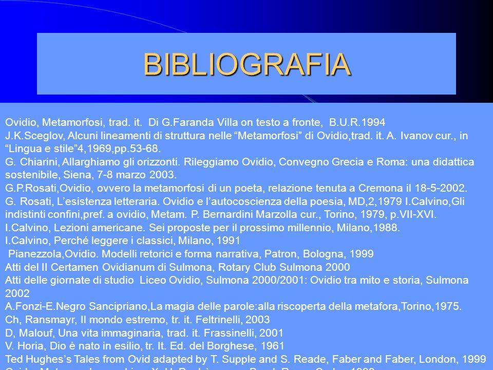 BIBLIOGRAFIA Ovidio, Metamorfosi, trad. it. Di G.Faranda Villa on testo a fronte, B.U.R.1994.