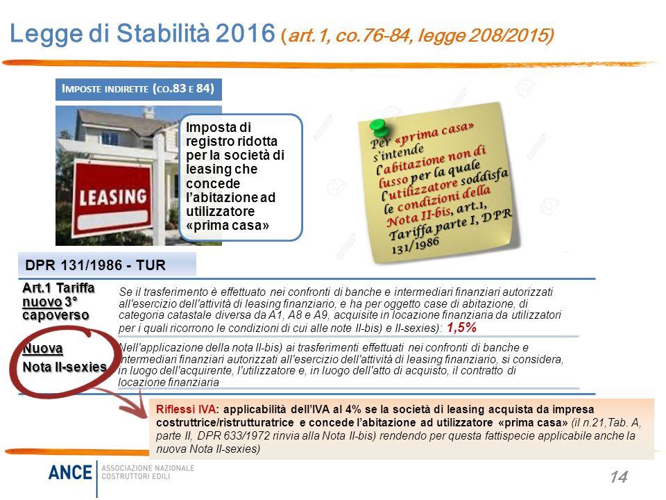 Legge di stabilit 2016 legge 208 2015 novit per casa - Costo atto prima casa ...