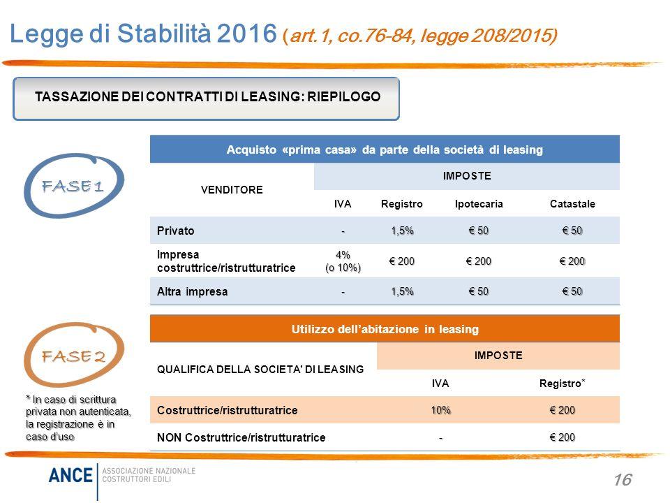 Legge di stabilit 2016 legge 208 2015 novit per casa - Scrittura privata acquisto casa ...