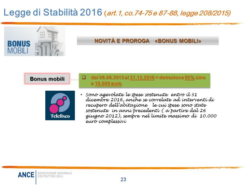 Legge di stabilit 2016 legge 208 2015 novit per casa - I televisori rientrano nel bonus mobili ...