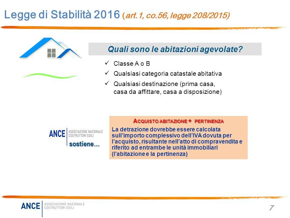 Legge di stabilit 2016 legge 208 2015 novit per casa - Detrazione iva acquisto prima casa 2016 ...
