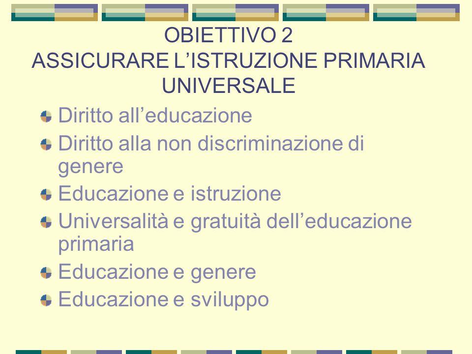 OBIETTIVO 2 ASSICURARE L'ISTRUZIONE PRIMARIA UNIVERSALE