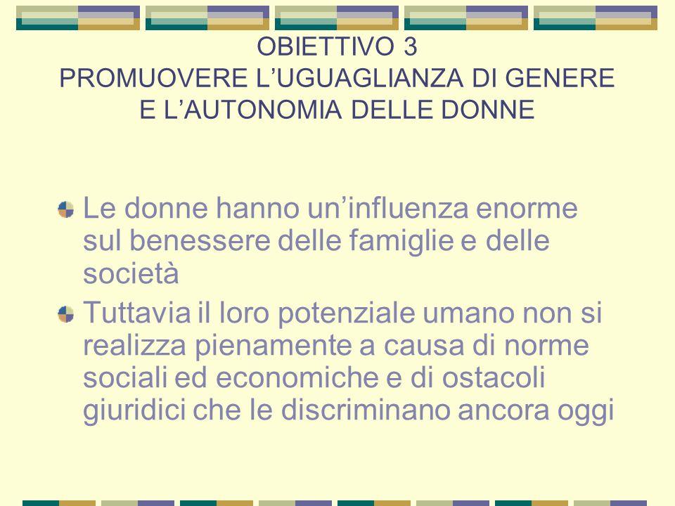 OBIETTIVO 3 PROMUOVERE L'UGUAGLIANZA DI GENERE E L'AUTONOMIA DELLE DONNE