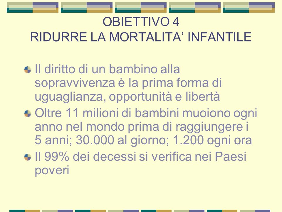OBIETTIVO 4 RIDURRE LA MORTALITA' INFANTILE