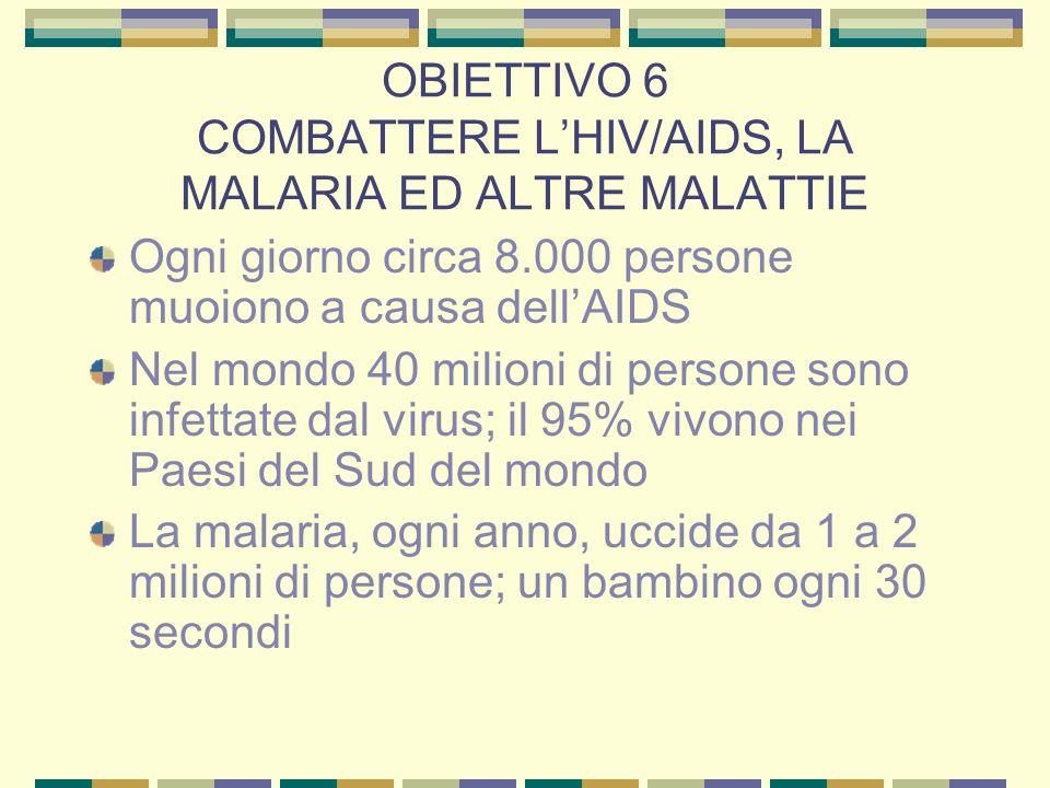 OBIETTIVO 6 COMBATTERE L'HIV/AIDS, LA MALARIA ED ALTRE MALATTIE