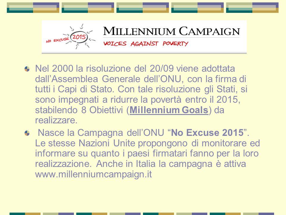 Nel 2000 la risoluzione del 20/09 viene adottata dall'Assemblea Generale dell'ONU, con la firma di tutti i Capi di Stato. Con tale risoluzione gli Stati, si sono impegnati a ridurre la povertà entro il 2015, stabilendo 8 Obiettivi (Millennium Goals) da realizzare.