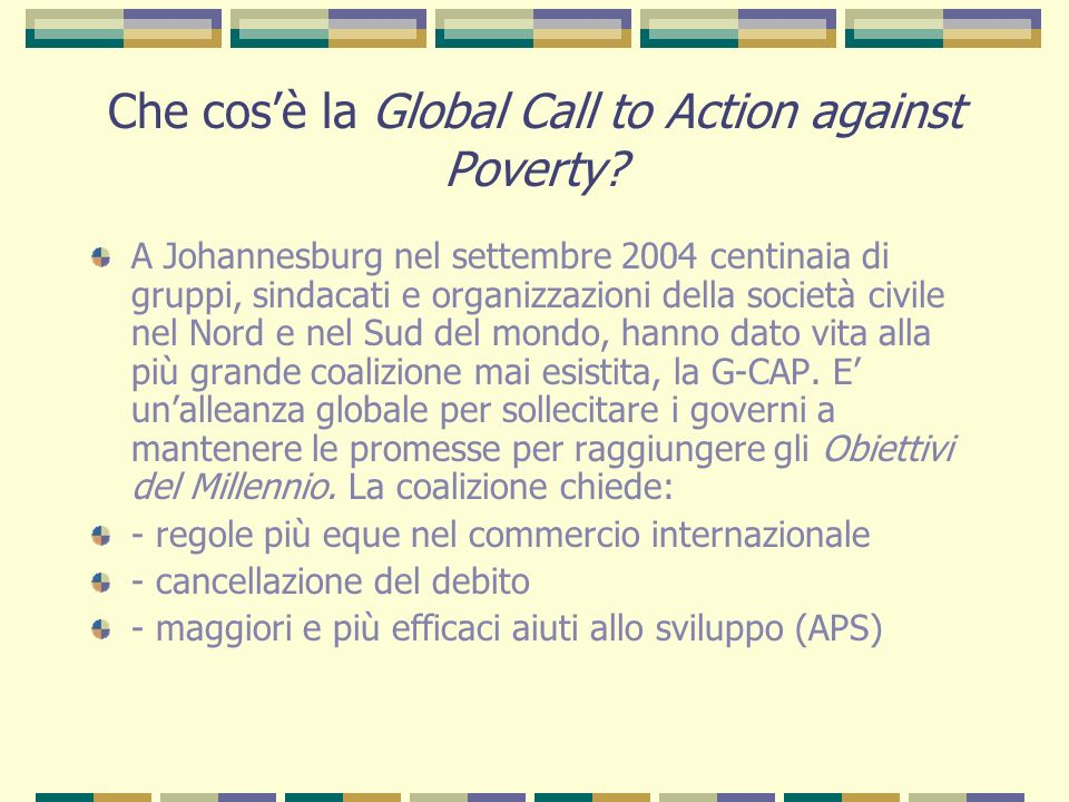 Che cos'è la Global Call to Action against Poverty