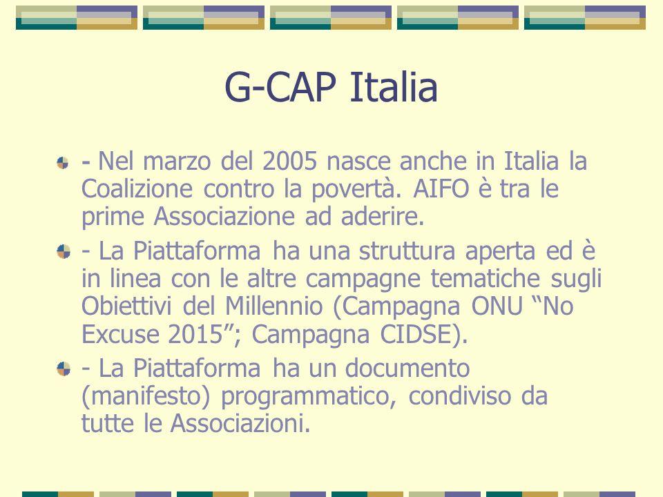 G-CAP Italia - Nel marzo del 2005 nasce anche in Italia la Coalizione contro la povertà. AIFO è tra le prime Associazione ad aderire.