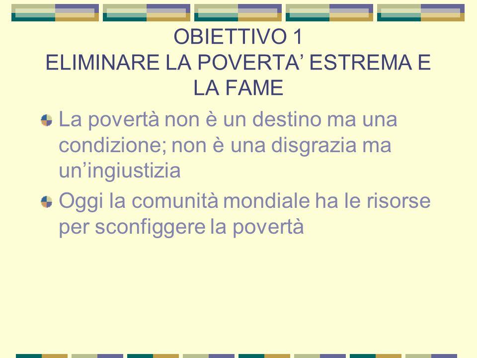 OBIETTIVO 1 ELIMINARE LA POVERTA' ESTREMA E LA FAME