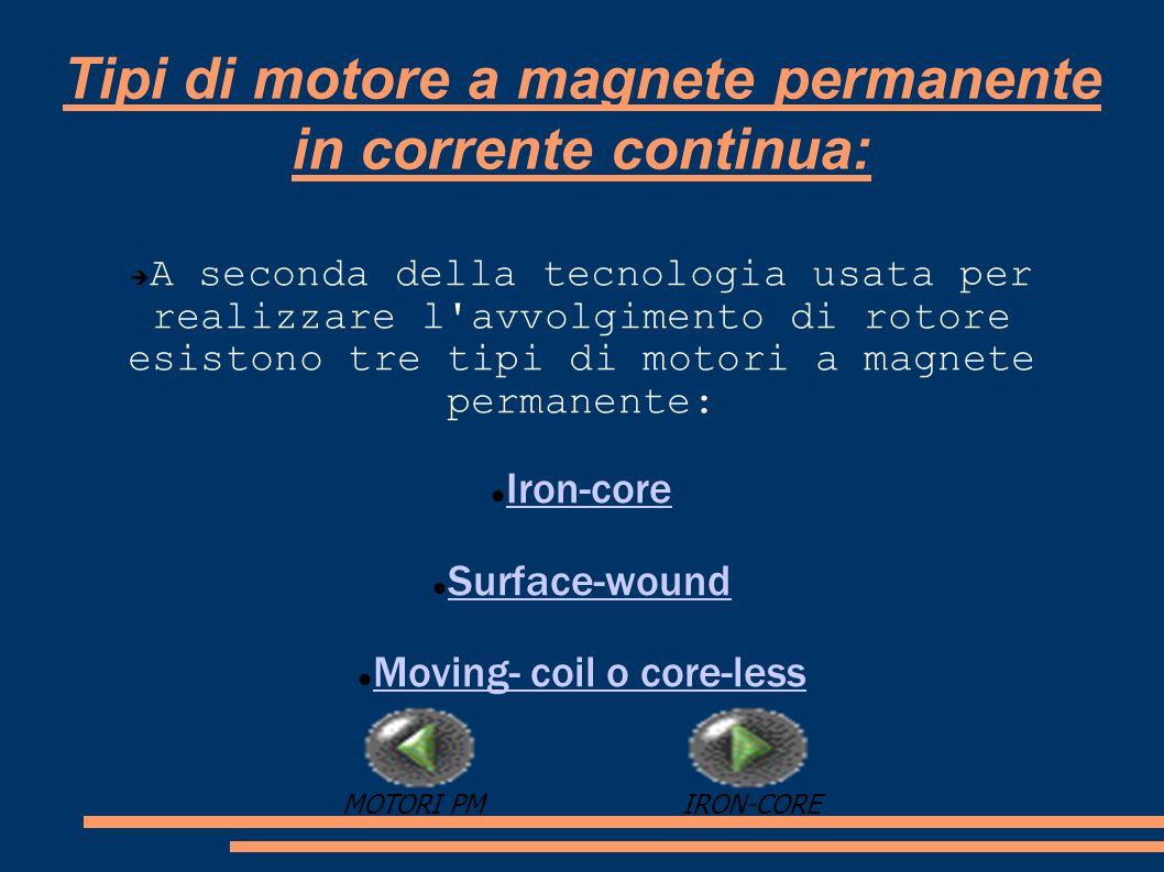 Tipi di motore a magnete permanente in corrente continua: