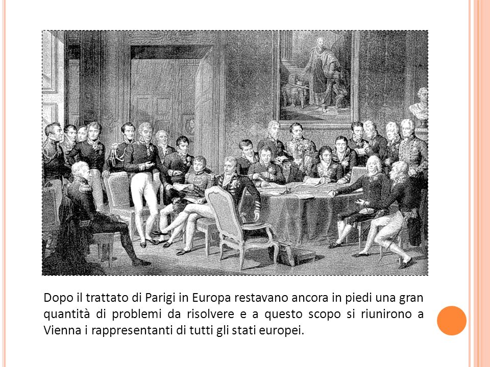 Dopo il trattato di Parigi in Europa restavano ancora in piedi una gran quantità di problemi da risolvere e a questo scopo si riunirono a Vienna i rappresentanti di tutti gli stati europei.