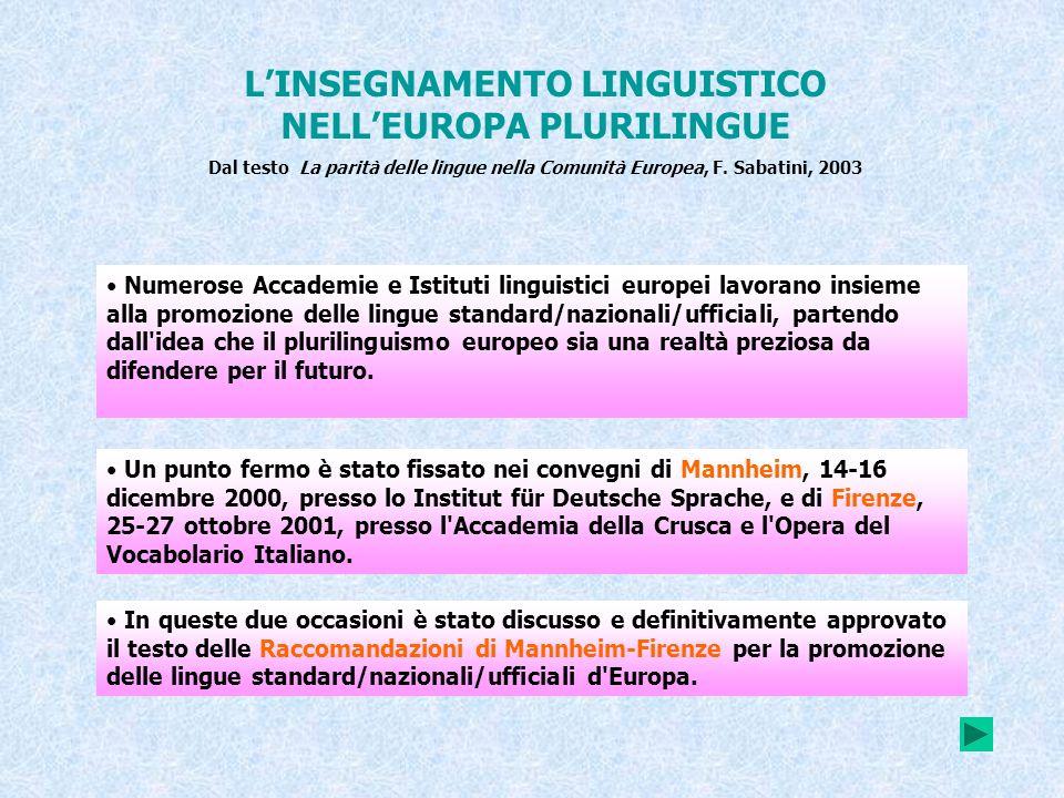L'INSEGNAMENTO LINGUISTICO NELL'EUROPA PLURILINGUE