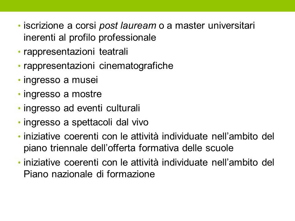 iscrizione a corsi post lauream o a master universitari inerenti al profilo professionale
