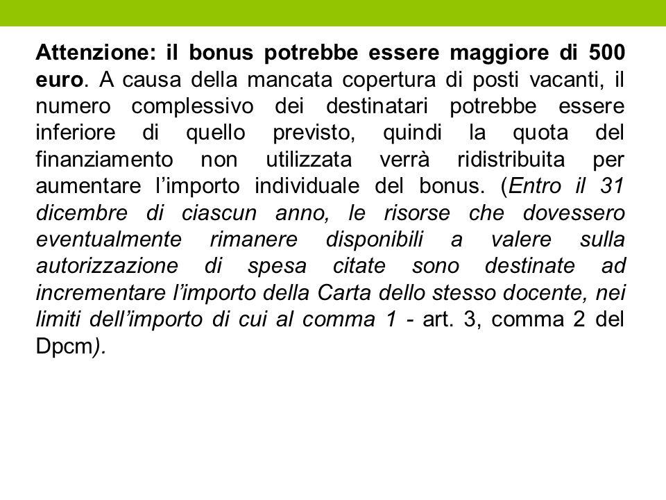 Attenzione: il bonus potrebbe essere maggiore di 500 euro