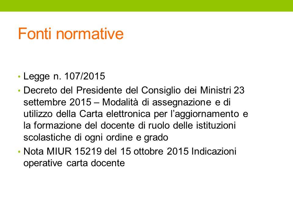Fonti normative Legge n. 107/2015