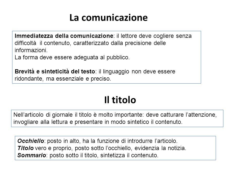 La comunicazione Il titolo