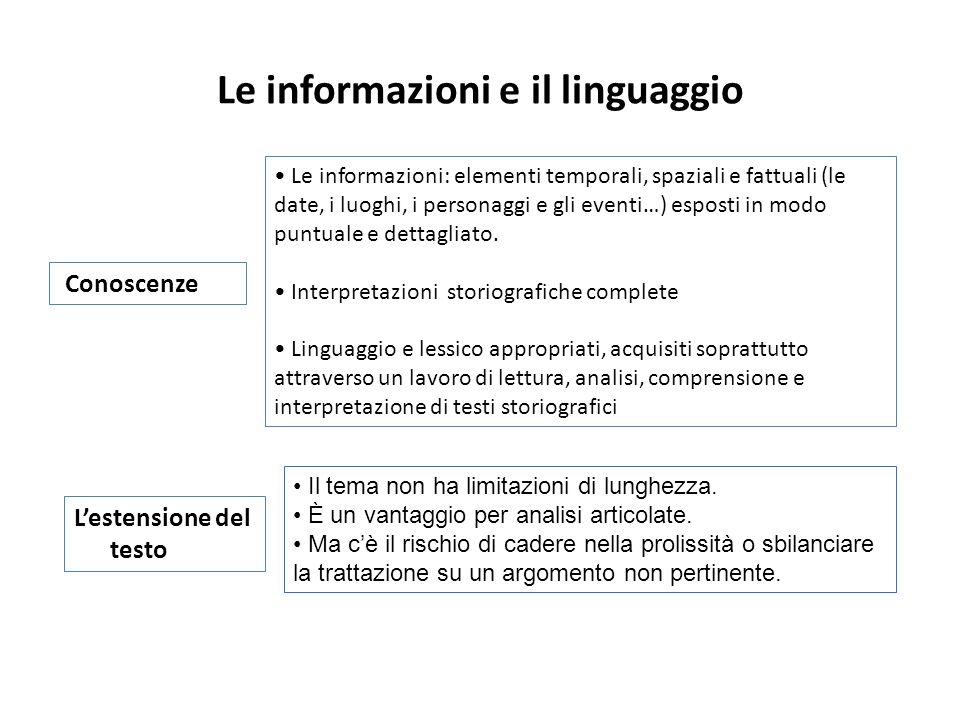 Le informazioni e il linguaggio
