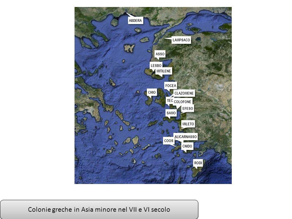 Colonie greche in Asia minore nel VII e VI secolo