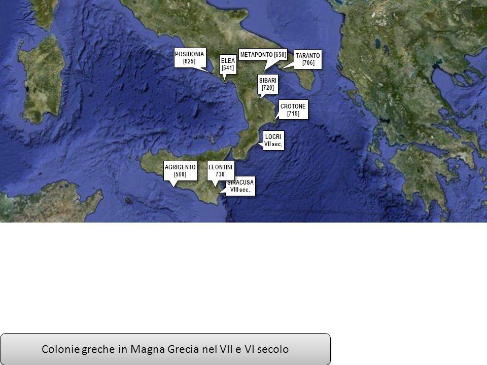 Colonie greche in Magna Grecia nel VII e VI secolo