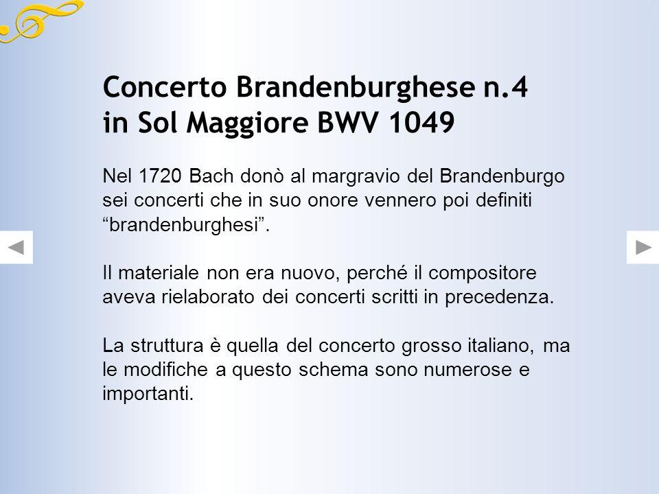 Concerto Brandenburghese n.4 in Sol Maggiore BWV 1049