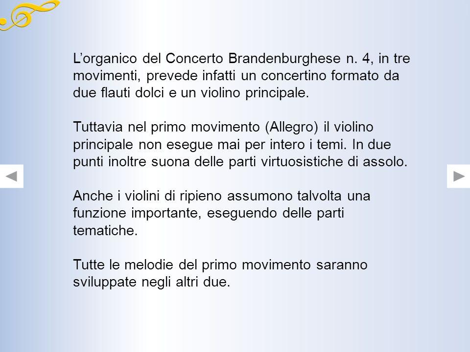 L'organico del Concerto Brandenburghese n