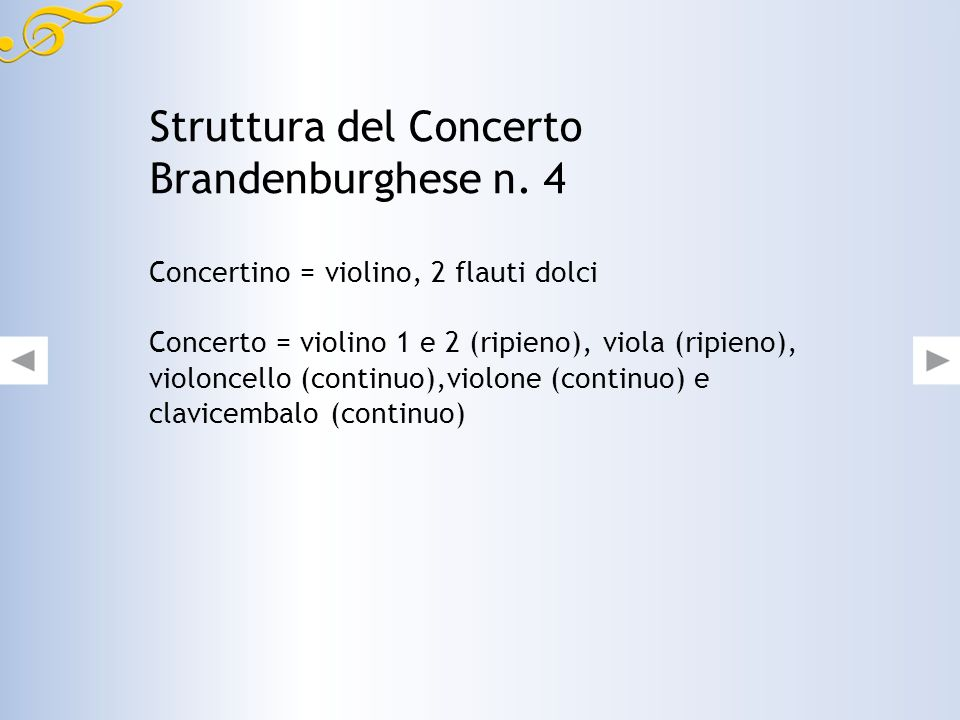Struttura del Concerto Brandenburghese n. 4