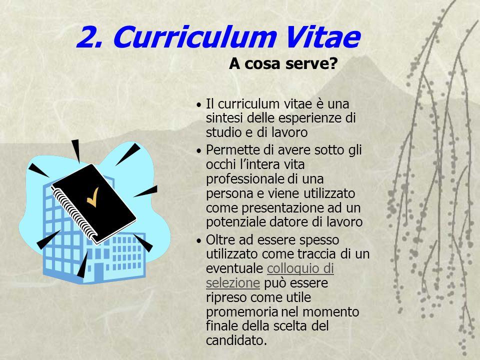 2. Curriculum Vitae A cosa serve