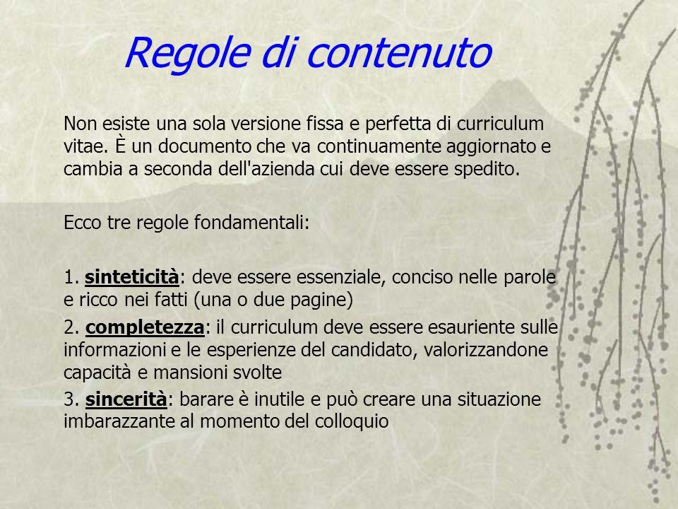 Regole di contenuto