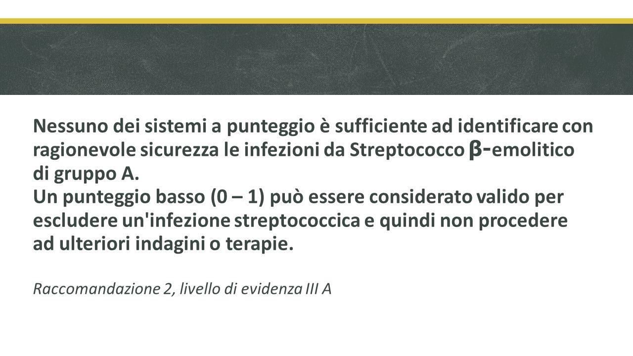 Nessuno dei sistemi a punteggio è sufficiente ad identificare con ragionevole sicurezza le infezioni da Streptococco β-emolitico di gruppo A.