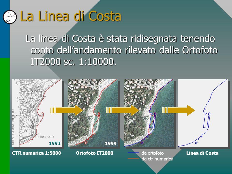 La Linea di Costa La linea di Costa è stata ridisegnata tenendo conto dell'andamento rilevato dalle Ortofoto IT2000 sc. 1:10000.