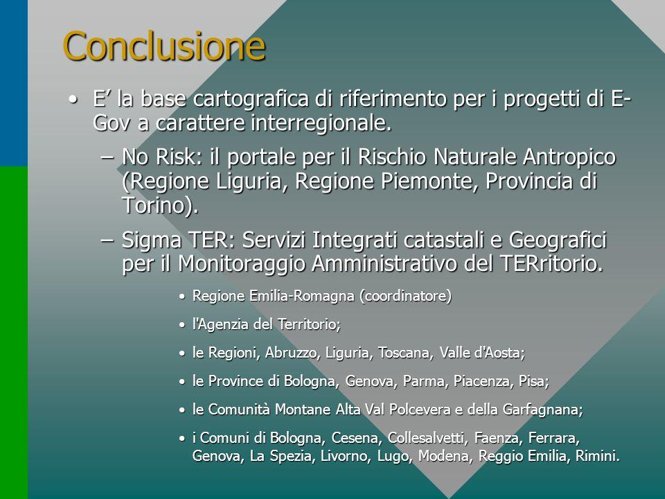 Conclusione E' la base cartografica di riferimento per i progetti di E-Gov a carattere interregionale.