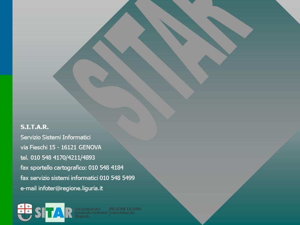 S.I.T.A.R. Servizio Sistemi Informatici. via Fieschi 15 - 16121 GENOVA. tel. 010 548 4170/4211/4893.