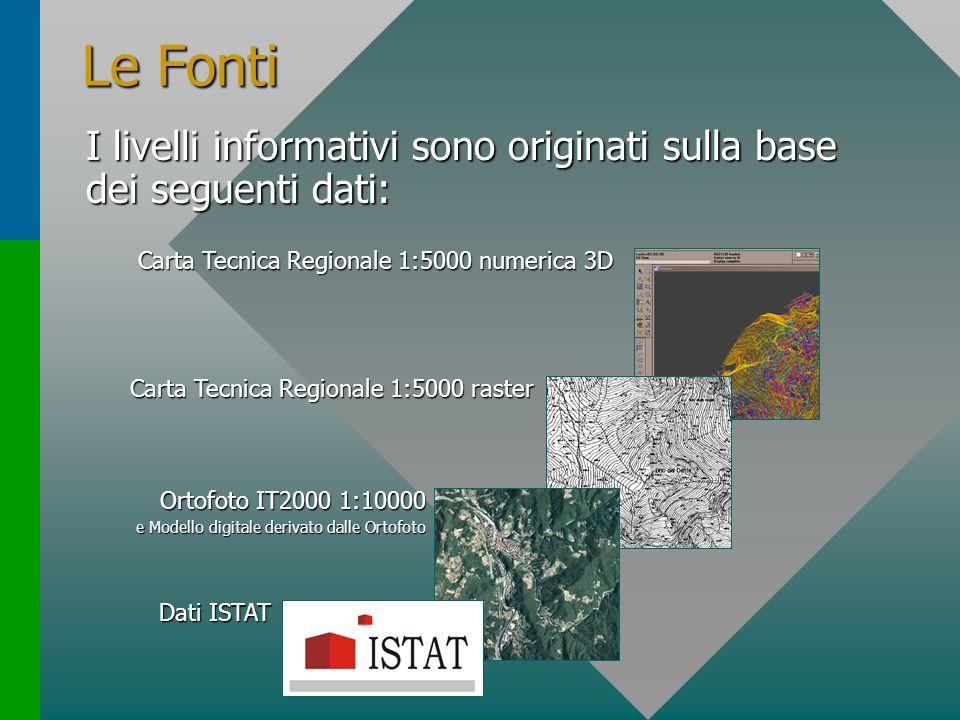 Le Fonti I livelli informativi sono originati sulla base dei seguenti dati: Carta Tecnica Regionale 1:5000 numerica 3D.