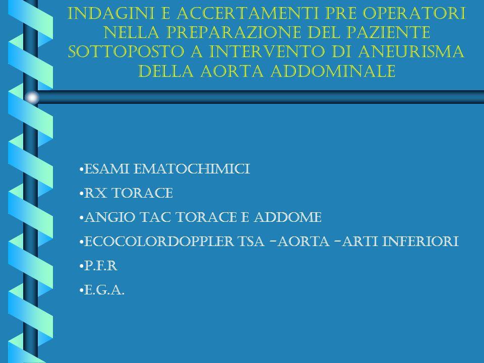 Indagini e accertamenti pre operatori nella preparazione del paziente sottoposto a intervento di aneurisma della aorta addominale