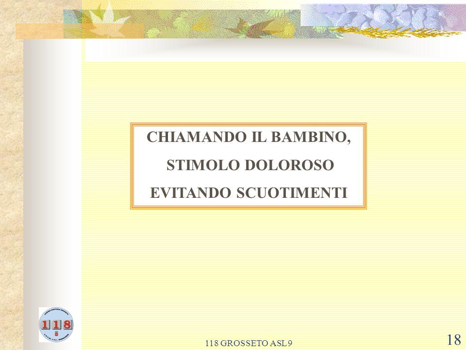 CHIAMANDO IL BAMBINO, STIMOLO DOLOROSO EVITANDO SCUOTIMENTI