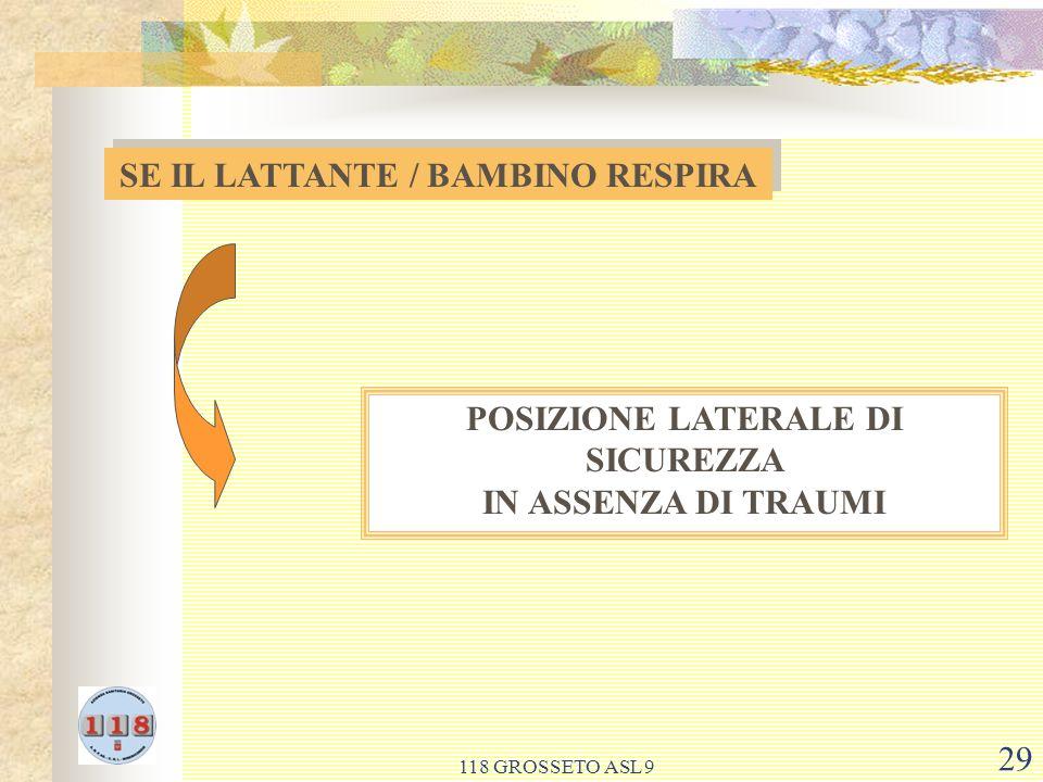 SE IL LATTANTE / BAMBINO RESPIRA POSIZIONE LATERALE DI SICUREZZA
