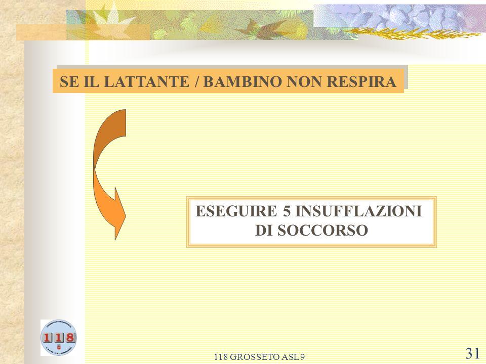 SE IL LATTANTE / BAMBINO NON RESPIRA ESEGUIRE 5 INSUFFLAZIONI