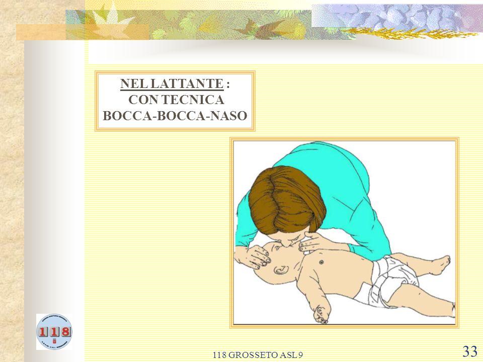 NEL LATTANTE : CON TECNICA BOCCA-BOCCA-NASO