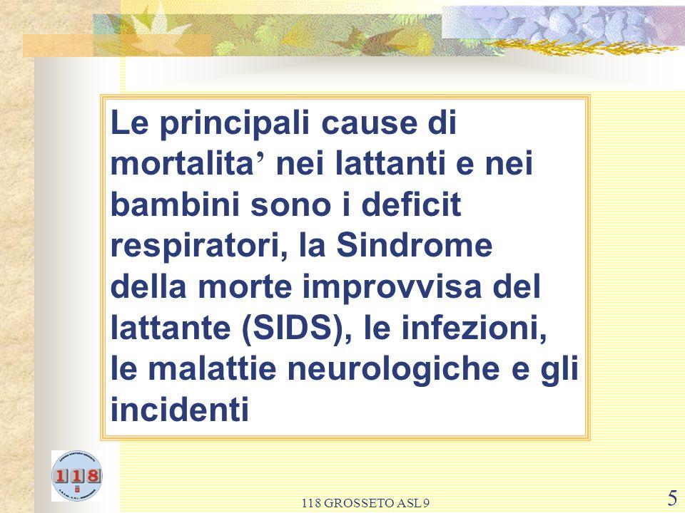 Le principali cause di mortalita' nei lattanti e nei bambini sono i deficit respiratori, la Sindrome della morte improvvisa del lattante (SIDS), le infezioni, le malattie neurologiche e gli incidenti