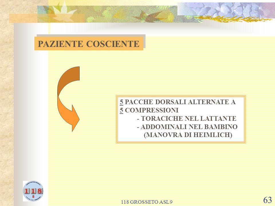 PAZIENTE COSCIENTE 5 PACCHE DORSALI ALTERNATE A 5 COMPRESSIONI