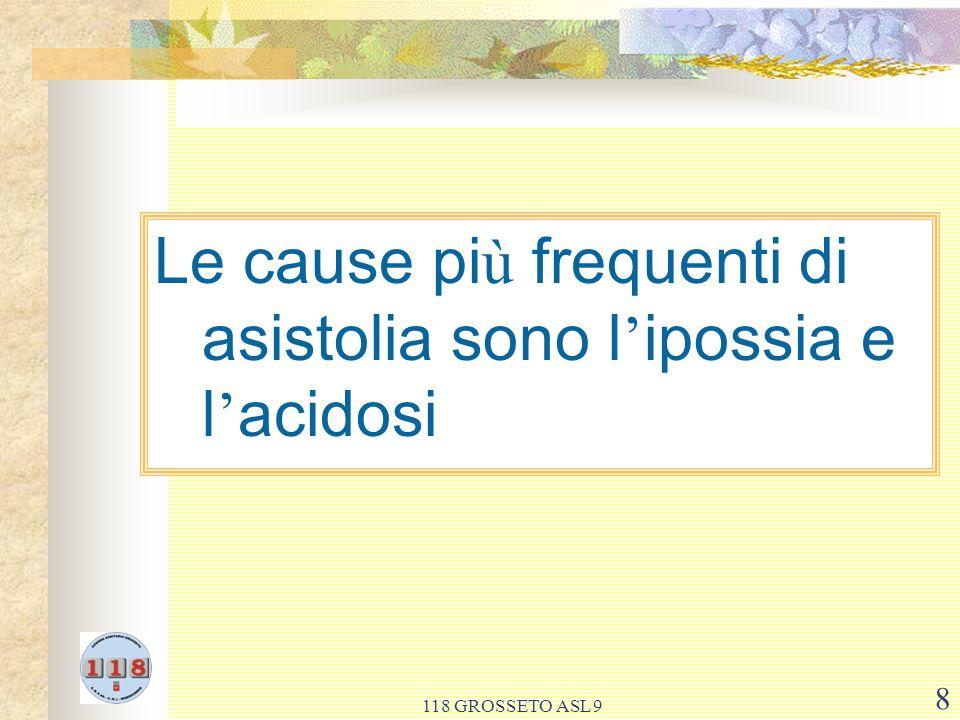 Le cause più frequenti di asistolia sono l'ipossia e l'acidosi