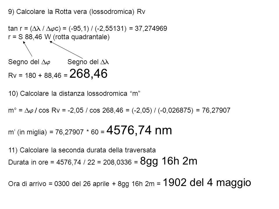 9) Calcolare la Rotta vera (lossodromica) Rv